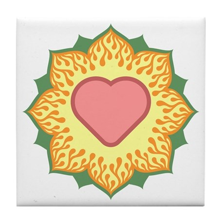 Heart Fire Lotus Tile Coaster