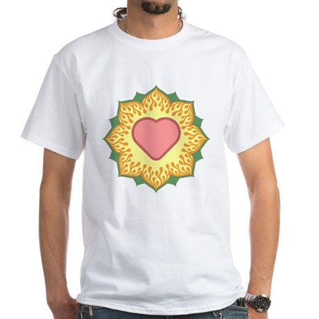 Heart Fire Lotus White T-Shirt