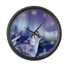 Winter Wolf Large Wall Clock