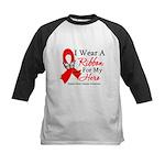 Heart Disease I Wear Ribbon H Kids Baseball Jersey