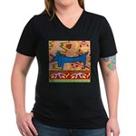 Dachshund Women's V-Neck Dark T-Shirt