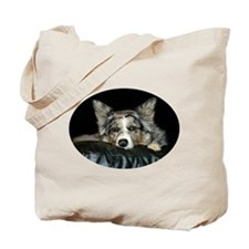 Blue Merle on Sofa Tote Bag