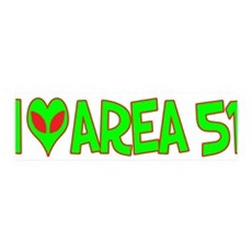 I Love-Alien Area 51 42x14 Wall Peel