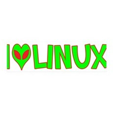 I Love-Alien Linux 42x14 Wall Peel