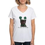 Shamrock Kitten Women's V-Neck T-Shirt