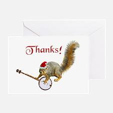 Banjo Squirrel Thanks Greeting Card