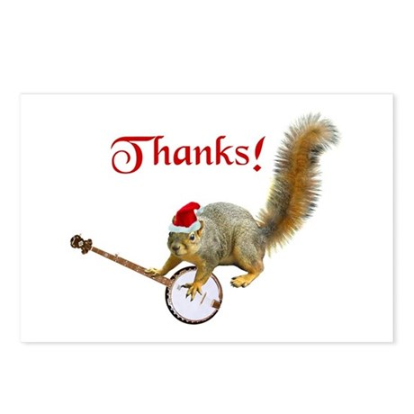 Banjo Squirrel Thanks Postcards (Package of 8)