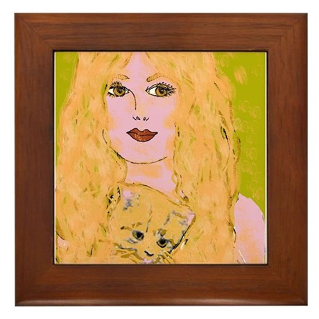 Cat Woman Framed Tile