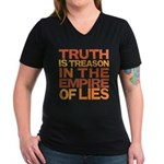 Truth is Treason Women's V-Neck Dark T-Shirt