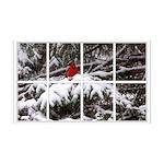 Snowy Cardinal Window 38.5 x 24.5 Wall Peel