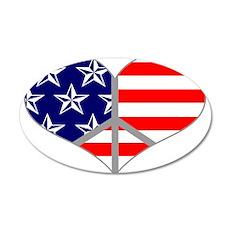 Peace Love America 22x14 Oval Wall Peel