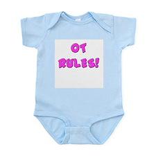 OT RULES! (BLUE & PINK) Infant Creeper