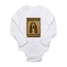"""Wanted"" Basset Hound Long Sleeve Infant Bodysuit"