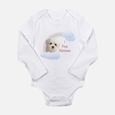 I Poop Rainbows Puppy Long Sleeve Infant Bodysuit