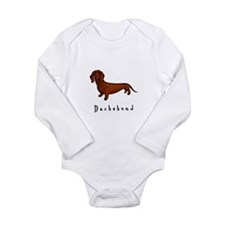 Dachshund Illustration Long Sleeve Infant Bodysuit