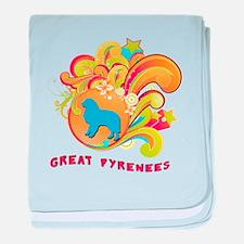 Groovy Great Pyrenees baby blanket