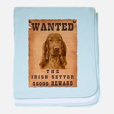 """Wanted"" Irish Setter baby blanket"
