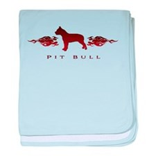 Pit Bull Flames baby blanket