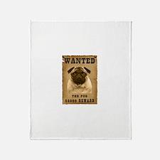"""Wanted"" Pug Throw Blanket"