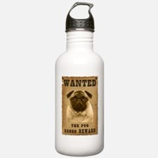 """""""Wanted"""" Pug Sports Water Bottle"""