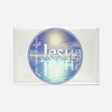 Blue Jesus Rectangle Magnet