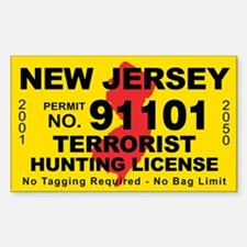 New Jersey Terrorist Hunting Sticker (Rectangle)