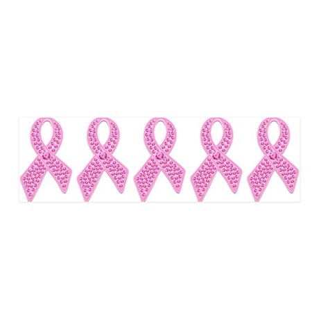 Pink Ribbon Jewels 36x11 Wall Decal