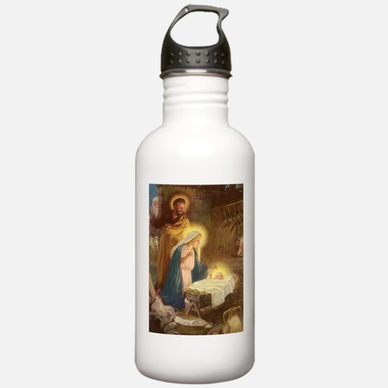 Vintage Christmas Nativity Water Bottle