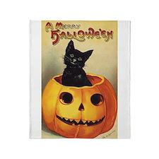 Vintage Halloween, Cute Black Cat Throw Blanket