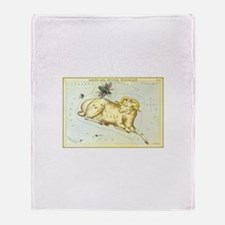 Vintage Celestial Zodiac, Aries Throw Blanket