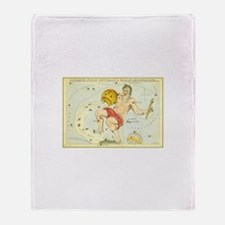 Vintage Celestial Zodiac, Aquarius Throw Blanket