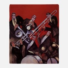 Vintage Music, Art Deco Jazz Throw Blanket