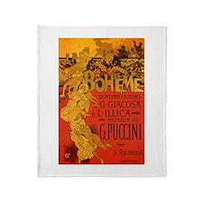Vintage La Boheme Opera Throw Blanket