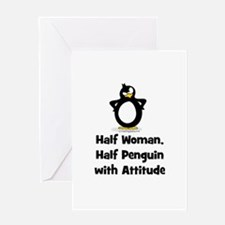 Half Woman, Half Penguin with Greeting Card