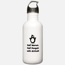 Half Woman, Half Penguin with Water Bottle