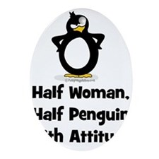 Half Woman, Half Penguin with Ornament (Oval)