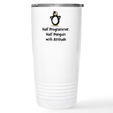 Half Programmer, Half Penguin Travel Mug