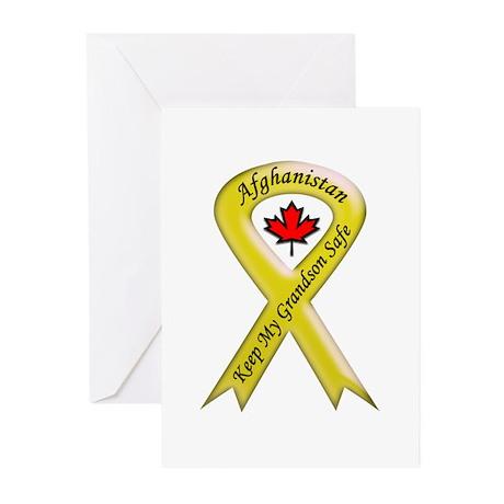 Afghanistan Grandson Safe Ribbon Greeting Cards (P