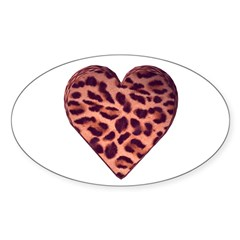 Leopard Heart Oval Decal