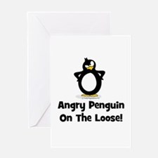 Angry Penguin on the Loose Greeting Card