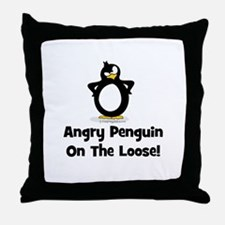 Angry Penguin on the Loose Throw Pillow