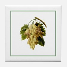 Provencal Green Stripe Grapes Tile Coaster