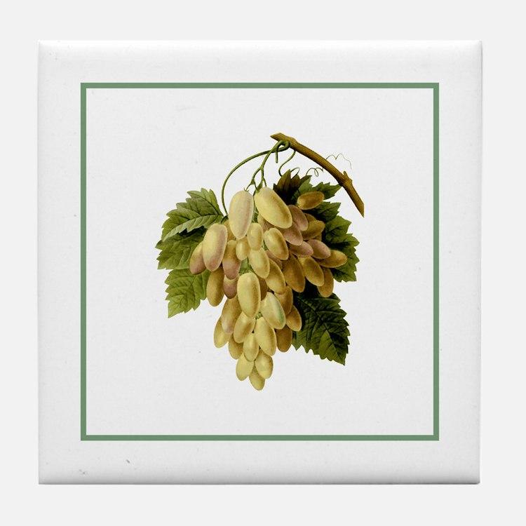 Provencal Green Stripe Grapes Tile Coaster