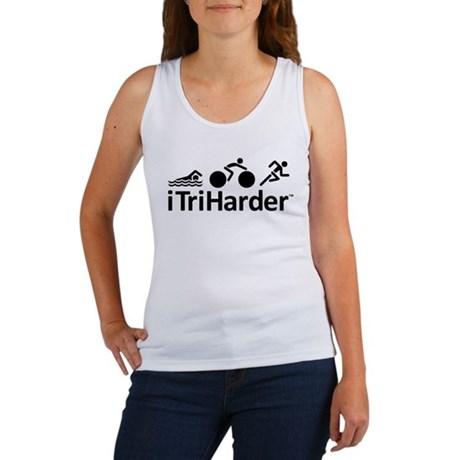 iTriHarder triathlon motto Women's Tank Top