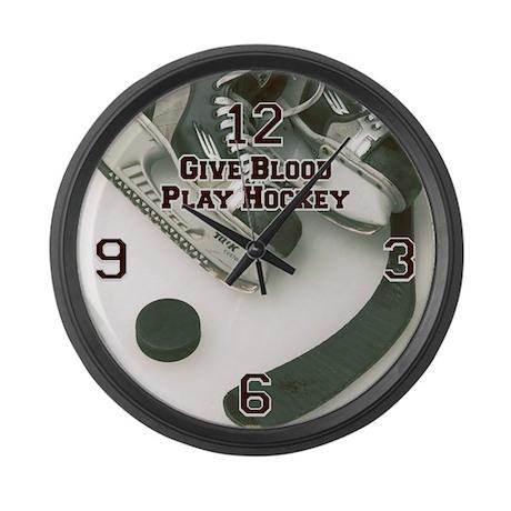 Give Blood, Play Hockey Large Wall Clock