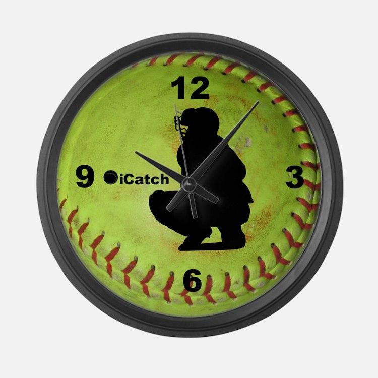 Fastpitch Softball icatch Large Wall Clock