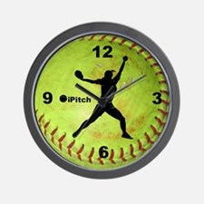 Fastpitch Softball ipitch Wall Clock
