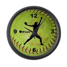 Fastpitch Softball ipitch Large Wall Clock