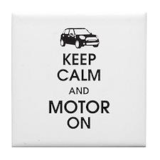 Keep Calm & Motor On Mini Tile Coaster