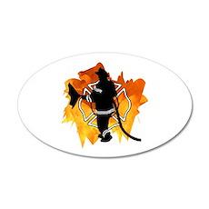 Firefighter Flames 22x14 Oval Wall Peel